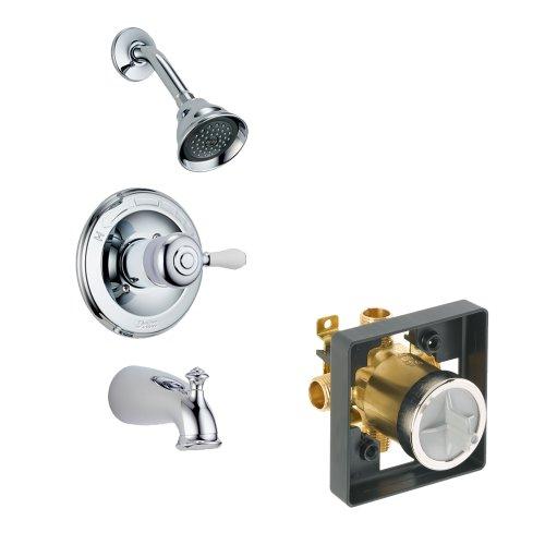 (Delta KTSDLE-T14478H777-CH-2 Leland Tub/Shower Kit Pressure-Balance Single-Function Cartridge with Porcelain Lever Handle, Chrome)