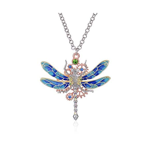 Steampunk Gear Diamond Color Dragonfly Necklace Alloy Chain Colorful Dragonfly Shaped Rock Gear Steampunk Pendant Necklace Choker Unisex 1Pcs 3