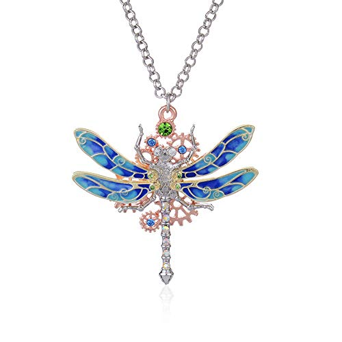 Steampunk Gear Diamond Color Dragonfly Necklace Alloy Chain Colorful Dragonfly Shaped Rock Gear Steampunk Pendant Necklace Choker Unisex 1Pcs