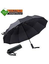Umbrella Windproof Premium Folded Golf Umbrella [12 Ribs -Unbreakable] Compact Travel Umbrella,Auto Open/Close Automatic Canopy Umbrella 210T Fabric with Teflon Waterproof Coating -Grid Black