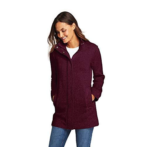 Lands' End Women's Sweater Fleece Coat, L, Sweet Bordeaux Heather from Lands' End