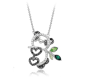 Acefeel Hollow Style Happy Panda Pendant Necklace Made with Swarovski Element Crystal Fashion JewelryN098