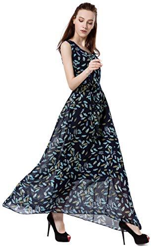 Wantdo Women's Casual Long Chiffon Dress Slim Fit U-Neck Maxi Skirt with Belt(Navy + Leaves, XL)