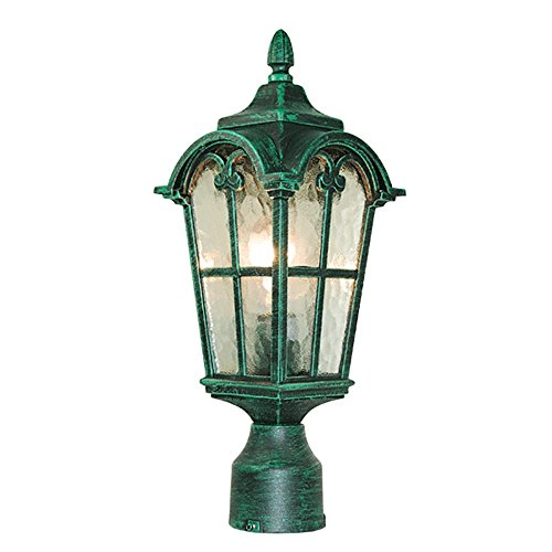 - ETOPLIGHTING Victorian Collection Verde Green Finish Exterior Outdoor Lantern Light with Stamped Glass, Post APL1087