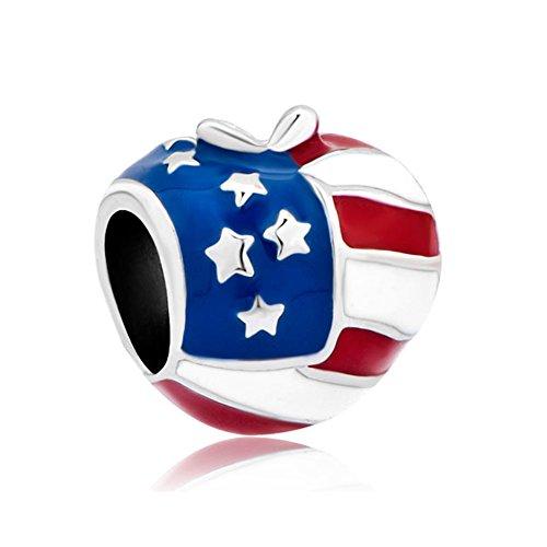 LovelyJewelry Heart Love U.S.A Apple Charms American Flag Heart Apple Beads For Bracelets
