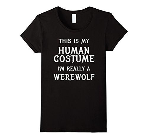 Werewolf Costume Halloween Diy (Womens Werewolf Halloween Costume Shirt Easy Funny for Kid Boys Men Small)