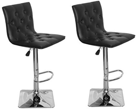 US Pride Furniture Ellie Adjustable Swivel Bar Stools, Set of 2, Black