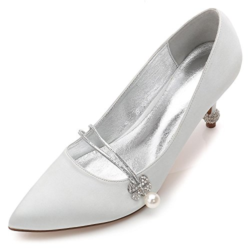 Plataforma L Noche yc Shoes Femeninos Rhinestone Zapatos Boda Satén De Fine Party Silver F17767 Wedding amp; 39 6nZ6rFg