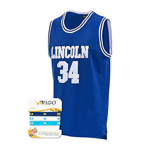 AFLGO Jesus Shuttlesworth #34 Lincoln High School Basketball Jersey S-XXXL Blue, 90's Clothing Throwback Costume Apparel Clothing Stitched – Top Bonus Combo Set with Wristbands (Blue, -