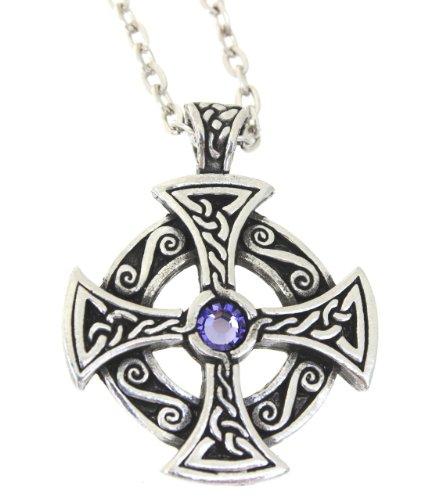 Pewter Solar Cross Celtic Pendant on Chain w/ Swarovski Crystal Lavender June Birthday ()