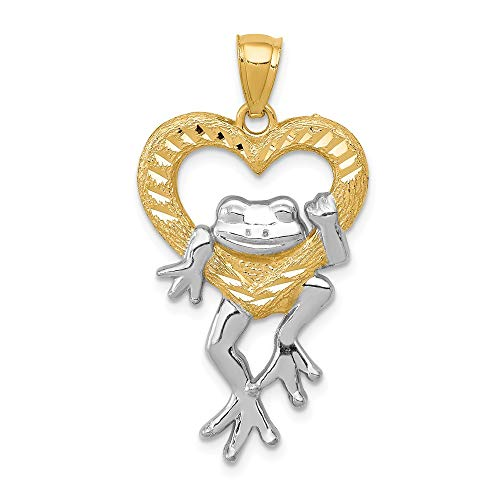 14K White Gold & Yellow Gold Themed Jewelry Pendants & Charms Solid 18 mm 32 mm Diamond Cut Frog in Heart Pendant
