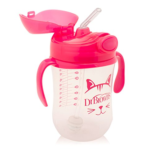 DR BROWN 270ML GIRLS TRAINING STRAW CUP WITH HANDLES