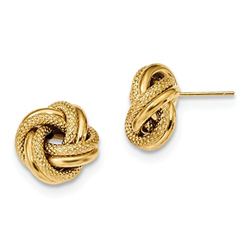 ICE CARATS 14kt Yellow Gold Textured Double Love Knot Post Stud Ball Button Earrings Fine Jewelry Ideal Gifts For Women Gift Set From Heart