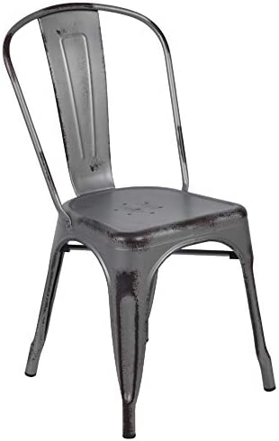 Flash Furniture Commercial Grade Distressed Silver Gray Metal Indoor-Outdoor Stackable Chair