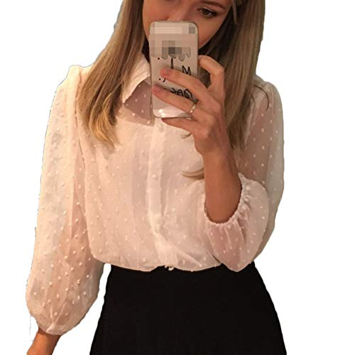 Women See Through Dot Buttons Front T-Shirt Puff Sleeve Mesh Sheer Blouse Elegant (L, White)