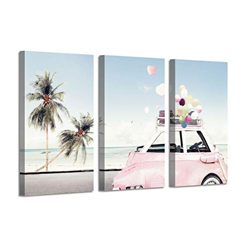 Ocean Picture Coastal Art Painting: Beach Palm & Pink Car Artwork Print on Canvas for Living Rooms Office(34