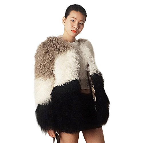 Manka Vesa Women's Warm Mongolian Lamb Fur Coat Long Sleeve Waistcoat Mixed Color Outwear Party Club Cocktail Color 3