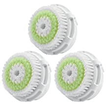 LSQtronics Acne Facial Cleansing Brush Heads for Clarisonic. Face Cleansing Brush Heads for Daily Skin Care. Compatible with Clarisonic MIA, MIA 2, ARIA, PRO and PLUS Cleansing Systems (3-Pack Brush Head for Acne Facial Cleansing)
