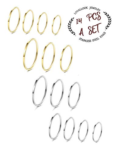 Ring Toe Silver Tone Silver (LOYALLOOK 14Pcs Thin Stacking Rings Stainless Steel 1MM Knuckle Midi Ring for Women Girls Silver-Tone Gold-Tone,Size 3-9)