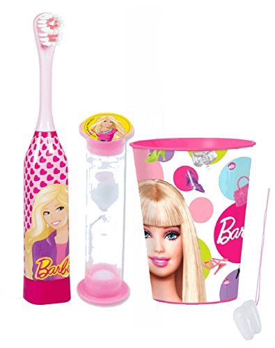 "Barbie Girl 3pc Bright Smile Oral Hygiene Set! Turbo Powered Toothbrush, Brushing Timer & Mouthwash Rinse Cup! Plus Bonus ""Remember To Brush"" Visual Aid!"