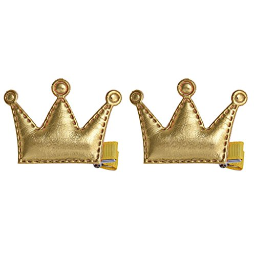 Baishitop 2PC Baby Girls Lmperial Crown Hair Clip, PU Leather Princess Style Buckle (Gold ) (Dance Costume Designer Online)