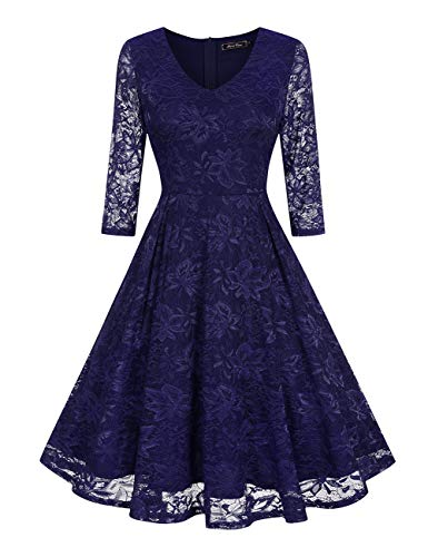 MARI CIAS Women's V-Neck Floral Lace Dress 3/4 Sleeve Party Cocktail Wedding Dresses (Navy Blue, XX-Large)