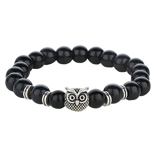 Bracelet Stretch Silver Plated Beaded (Efulgenz Elastic Stone Silver Plated Owl Charm Beaded (8mm) Stretch Bracelet for men and women, Unisex)