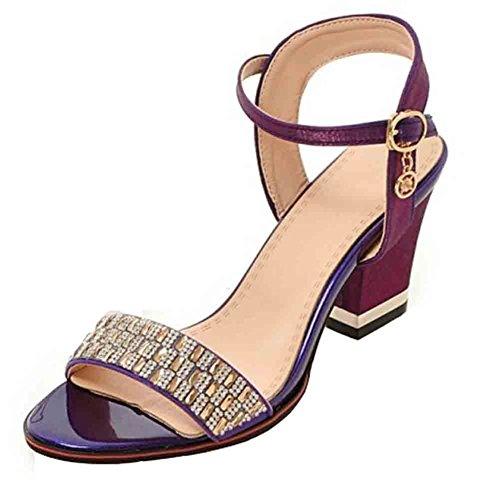 Easemax Mujeres Trendy Open Toe Hebillas En El Tobillo Con Tacón Alto Sandalias De Tacón Alto Purple