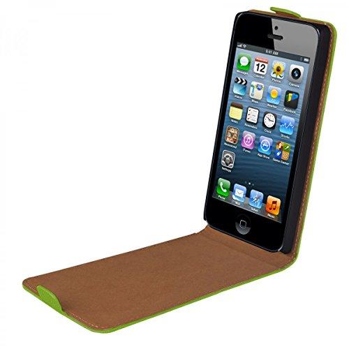 eFabrik Hülle für Apple iPhone SE Flip Case Tasche Schutz grün
