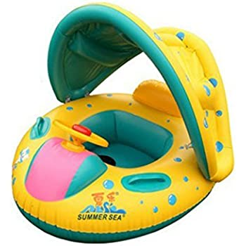 TOYMYTOY Baby Swimming Float Boat Baby Kids Swimming Seat Inflatable Ring (Yellow)