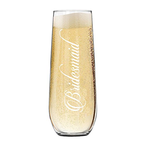 Etched Stemless Champagne Flute Glasses for Wedding Party (Bridesmaid - 8.5 (Wedding Party Champagne Flutes)