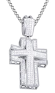 0.57 Ct Round Cut White Natural Diamond Cross Pendant Necklace In 14K Solid White Gold