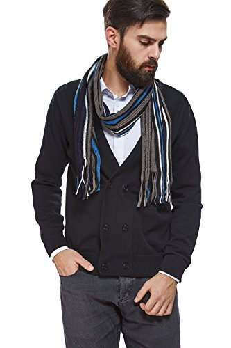 Men Knitted Scarf With Fringe Warm Wrap Striped Winter Scarves Mens Accessories (black, light gray, blue, white)