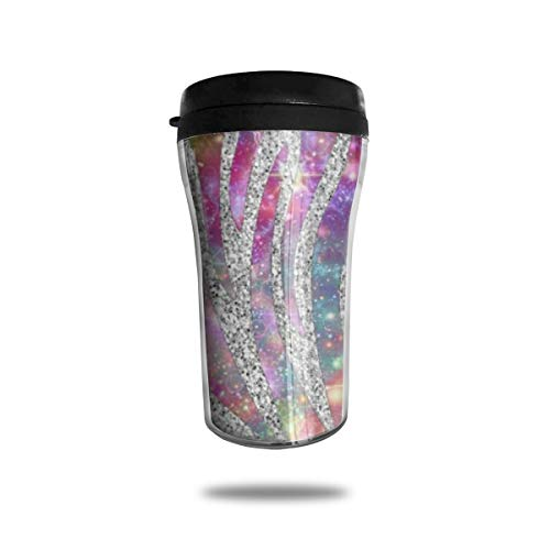 HMDEI Sequined Star Zebra Pattern Coffee Cup Reusable Travel Office Home Coffee Mug with Lid