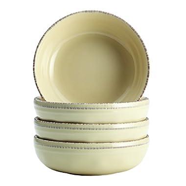 Rachael Ray 4 Piece Cucina Dinnerware Stoneware Fruit Bowl Set, Almond Cream