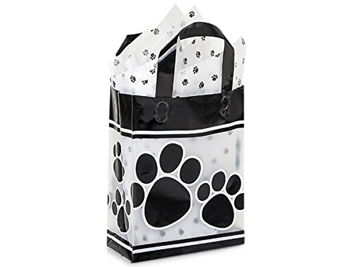 Pack Of 200, Cub Size 8 x 4 x 10'' Paw Print Plastic 3 Mil Shopping Bags W/6 Mil Handle