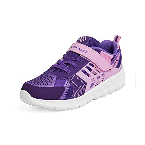 DREAM PAIRS Girls KD18002K Lightweight Breathable Running Athletic Sneakers Shoes Pink Purple, Size 3 M US Little Kid -