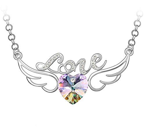 Rigant White Gold Plated Hollow Style Letter Love Angel Wings Heart Swarovski Crystal Elements 25