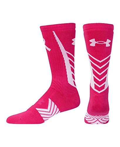 Price comparison product image Under Armour Mens UA Power In Pink Undeniable Crew Socks Medium Tropic Pink