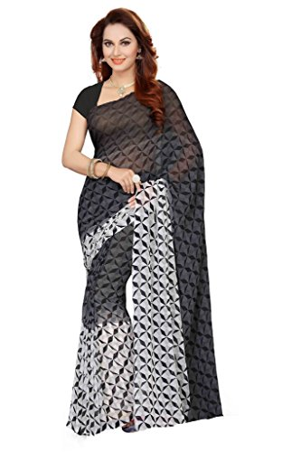 Ishin Faux Georgette Grey & White Printed Womens Saree.