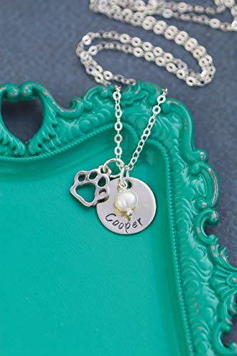 Personalized Pawprint Necklace - DII AAA - Animal Lover - Handstamped Handmade Jewelry - 5/8 Inch 15MM Silver Disc - Choose Crystal - Custom Name - Pick Chain Length - Fast 1 Day Production