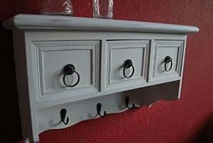 –Perchero de pared estante Antiguo Blanco Estantería Estantería de cocina rústico perchero 3cajones