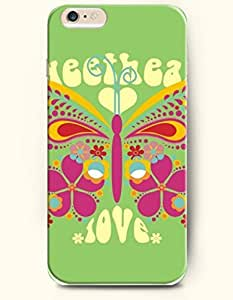 OOFIT New Apple iPhone 6 ( 4.7 Inches) Hard Case Cover - Pinkish Butterfly and Love