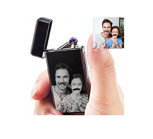 Personalized Photo Lighter Custom USB Rechargeable Lighter Windproof (Black)