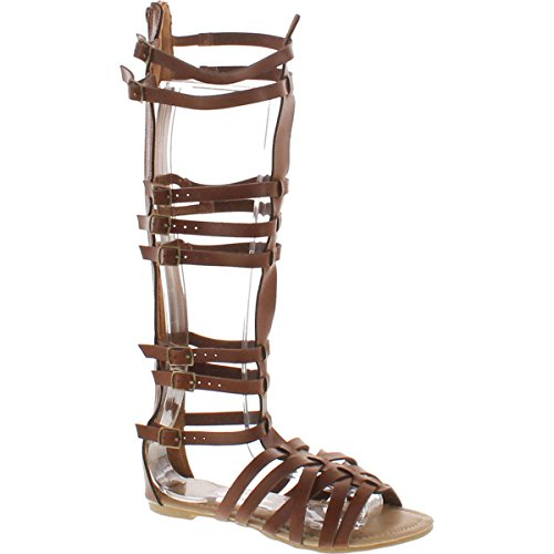 StyleUpGirl Monica-1 Knee High Gladiator Sandals Marcelino Black Brown Knee,Brown(Cognac),8.5