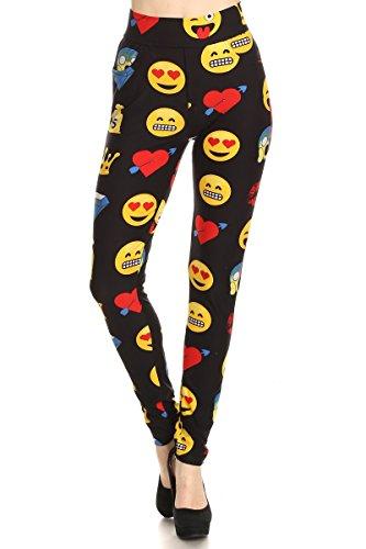 LA12ST Women Emoji Digital Print Leggings Jogger Pants With Zippers and Pockets]()