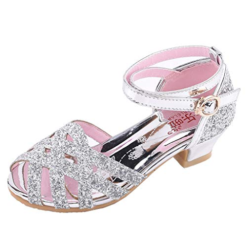 ONLY TOP Kid's Glitter Sandals Little Girl's Sequin Pretty Party Dress Pumps Low Heels Princess Shoes Silver