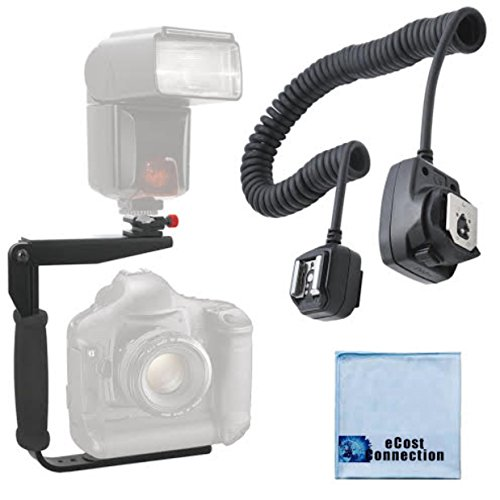 180 Degree Quick Flip rotating Flash Bracket & Heavy Duty Off-Camera Flash Cord that Stretches to 3 Feet for Nikon D5000, D5100, D5200, D5300, D40, D40X, D50, D70, D70S, D80, D3000, D3100, D3200, D3300, D90, D7100, D600, D610, D700, D300, D300S, D800, D800E, D1H, D2H, D2X, D3, D3S, D3X, D4, 1J1, 1V1, Df, D7000 Cameras ()