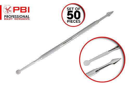 cuticle pusher - nail cleaner - manicure pedicure cuticle remover - double function cuticle pusher - 6.9 inch - 50 pieces set - Stainless steel from PBI by PBI professional beauty instruments