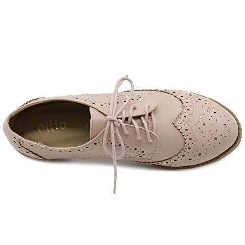Ollio Scarpe Da Donna Scarpe Wingtip Lace Up Oxfords Nude Pink